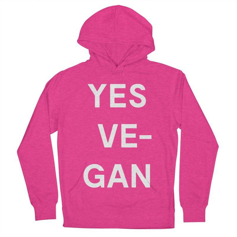 Goods by Unicorn Goods YES VE-GAN Women's Hoodie in Heather Heliconia-Womens Hoodie-Goods by Unicorn Goods-Unicorn Goods
