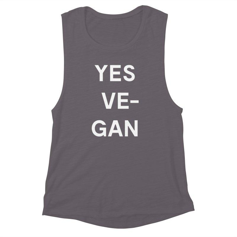 Goods by Unicorn Goods YES VE-GAN Women's Muscle Tank in Athletic Heather-Womens Tank Top-Goods by Unicorn Goods-Unicorn Goods