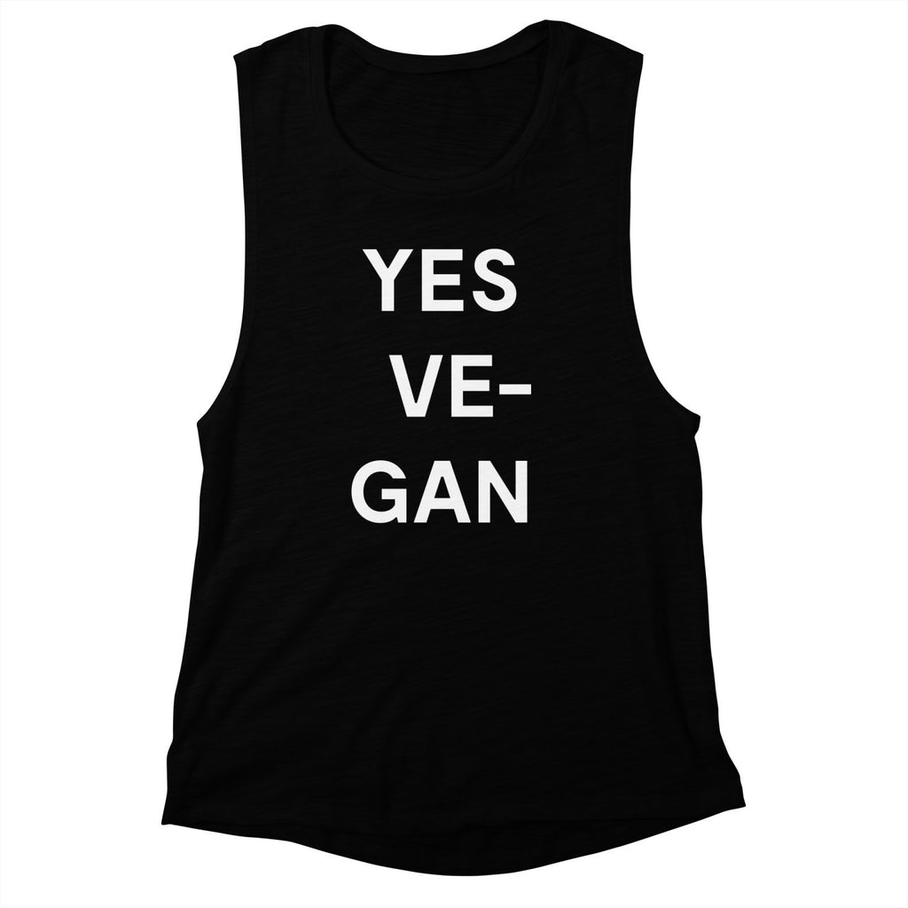 Goods by Unicorn Goods YES VE-GAN Women's Muscle Tank in Black-Womens Tank Top-Goods by Unicorn Goods-Unicorn Goods