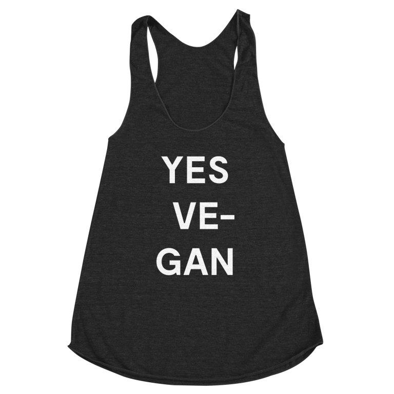 Goods by Unicorn Goods YES VE-GAN Women's Racerback Tank in Heather Onxy-Womens Tank Top-Goods by Unicorn Goods-Unicorn Goods