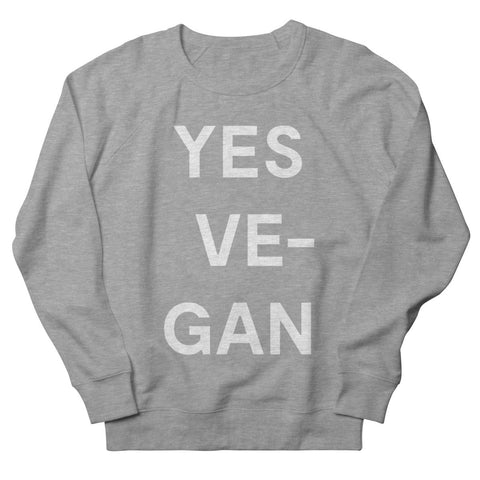 Goods by Unicorn Goods YES VE-GAN Women's Sweatshirt in Heather Graphite-Womens Sweatshirt-Goods by Unicorn Goods-Unicorn Goods
