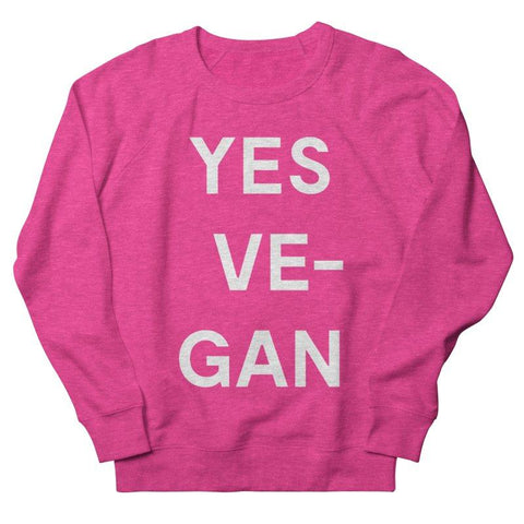 Goods by Unicorn Goods YES VE-GAN Women's Sweatshirt in Heather Heliconia-Womens Sweatshirt-Goods by Unicorn Goods-Unicorn Goods