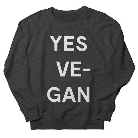 Goods by Unicorn Goods YES VE-GAN Women's Sweatshirt in Smoke-Womens Sweatshirt-Goods by Unicorn Goods-Unicorn Goods