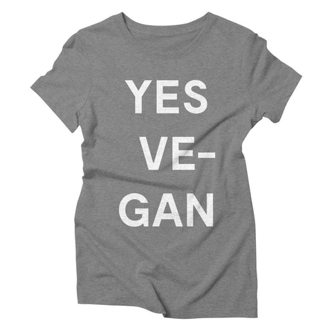 Goods by Unicorn Goods YES VE-GAN Women's T-shirt in Grey Triblend-Womens T-shirt-Goods by Unicorn Goods-Unicorn Goods