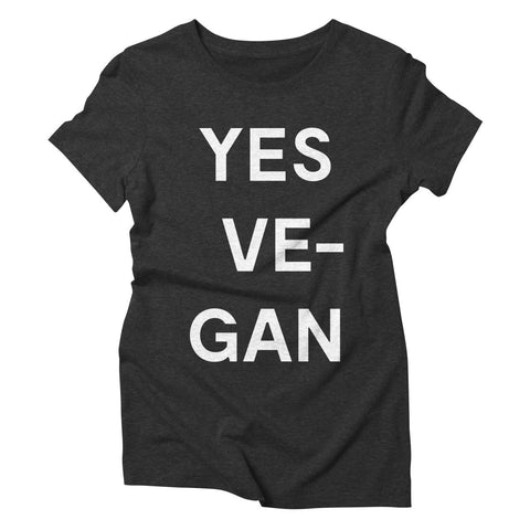 Goods by Unicorn Goods YES VE-GAN Women's T-shirt in Heather Onxy-Womens T-shirt-Goods by Unicorn Goods-Unicorn Goods