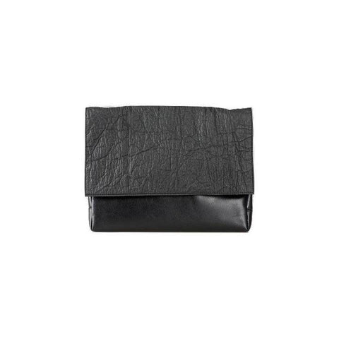 Ina Koelln Medium Clutch Crossbody in Black Piñatex-Womens Clutch-Ina Koelln-Unicorn Goods