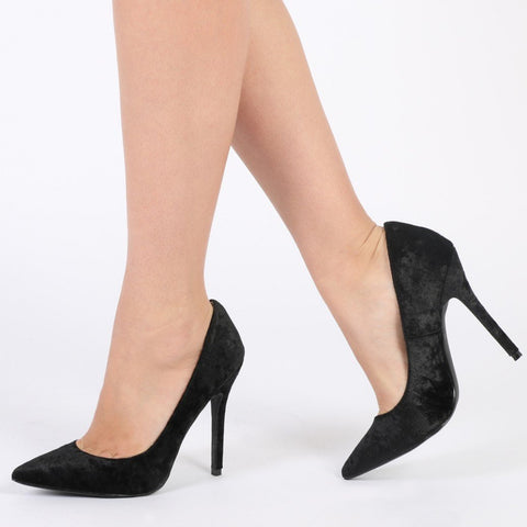 18f147138382 Josie Stiletto Heels in Black Crushed Velvet