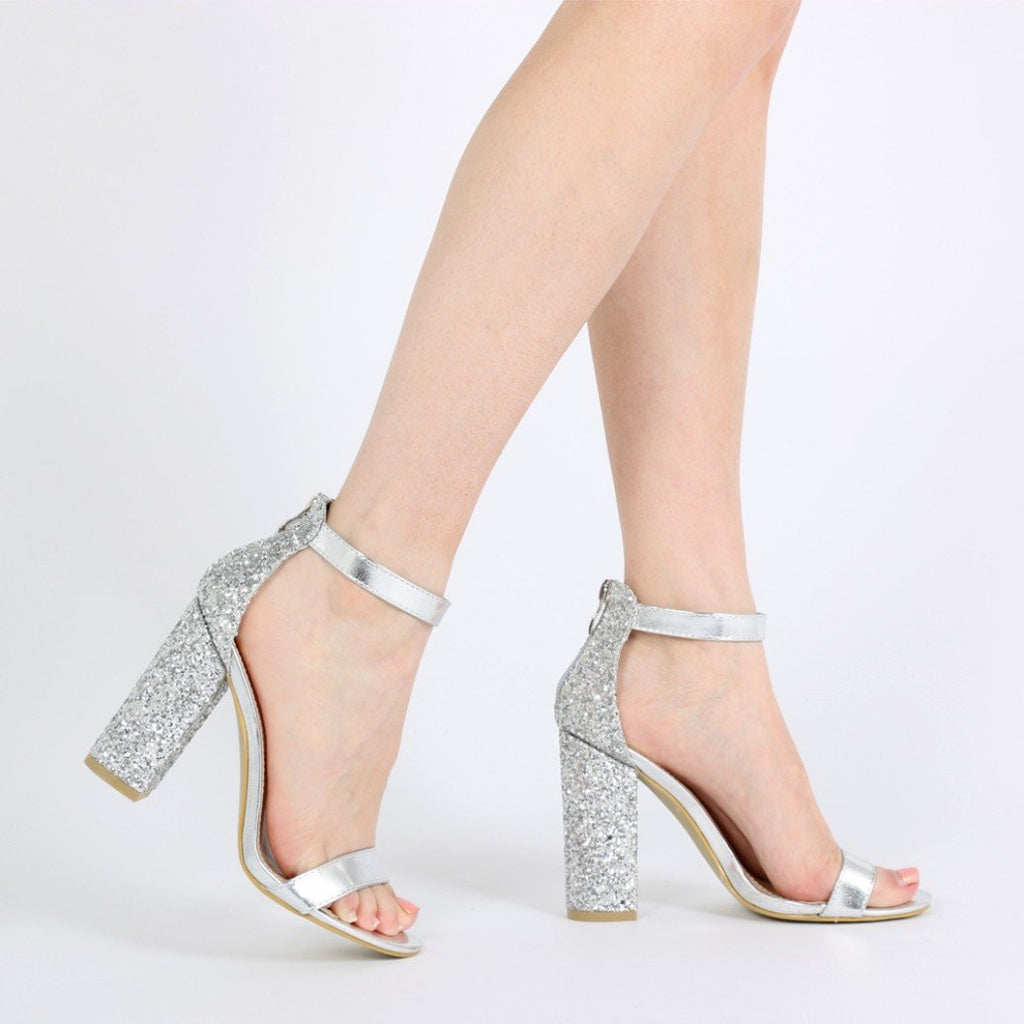 Juno Glitter Back Barely There Block Heels in Silver-Womens Heels-Public Desire-Unicorn Goods