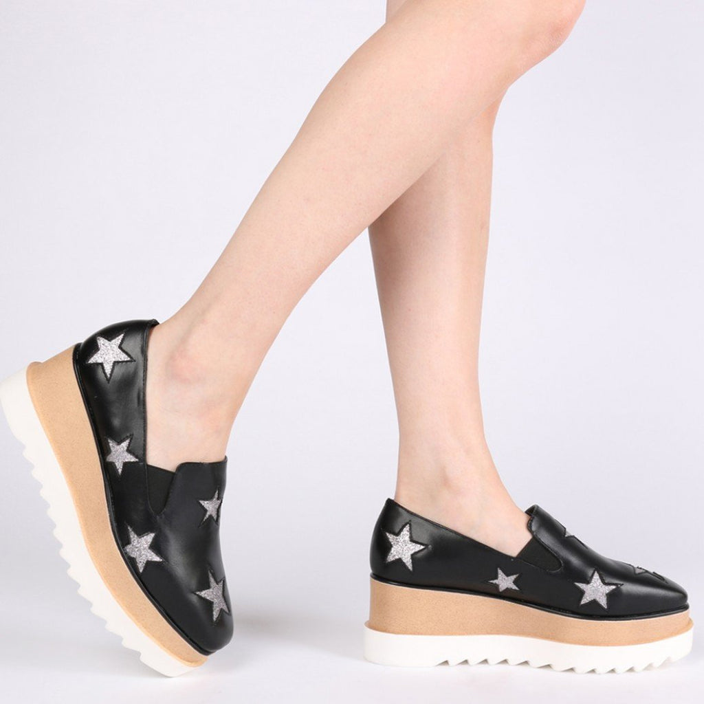 Layla Flatform Star Pumps in Black-Womens Oxfords-Public Desire-Unicorn Goods
