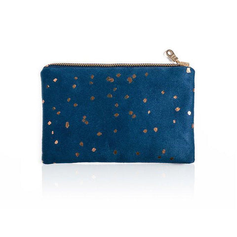 Lee Coren Blue & Bronze Confetti Portofino Pouch-Womens Utility Bag-Lee Coren-Unicorn Goods