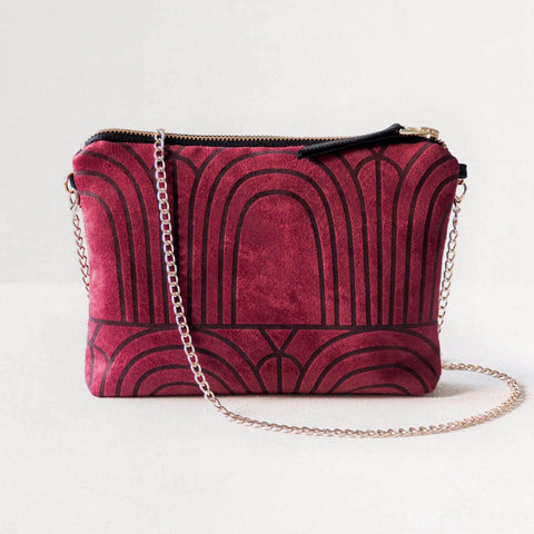 Lee Coren Burgundy Arches Dulce Clutch & Chain-Womens Clutch-Lee Coren-Unicorn Goods