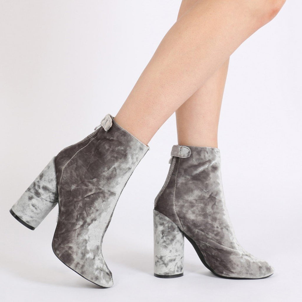 Lia Round Heel Ankle Boots in Grey Velvet-Womens Booties-Public Desire-Unicorn Goods