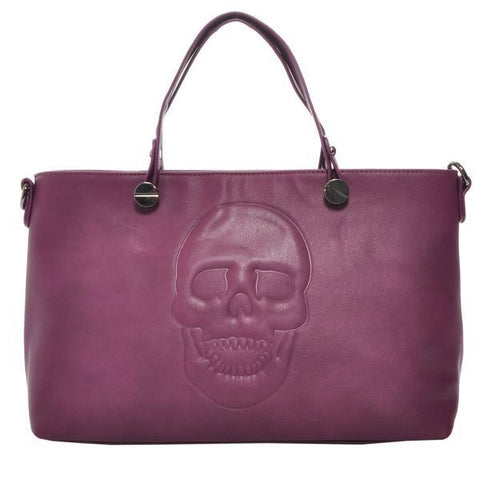 Mechaly Skull Handbag in Plum-Womens Purse-Mechaly-Unicorn Goods