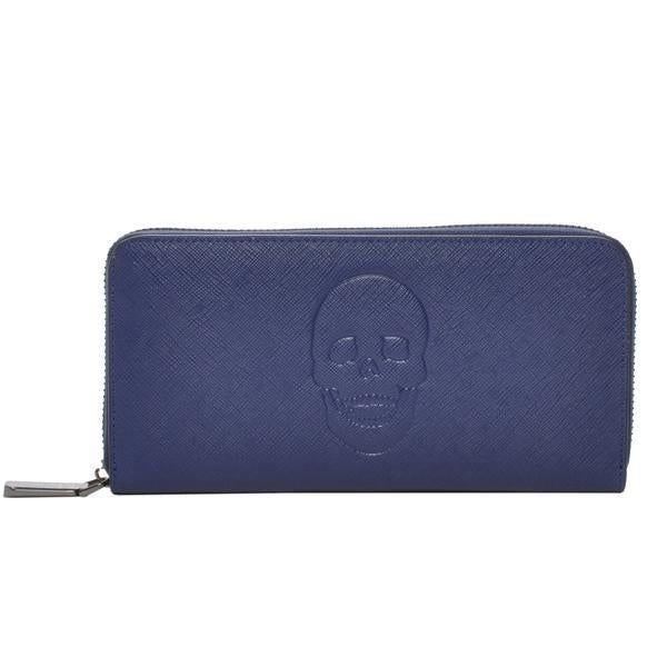 Mechaly Skull Zip Wallet in Blue-Womens Wallet-Mechaly-Unicorn Goods