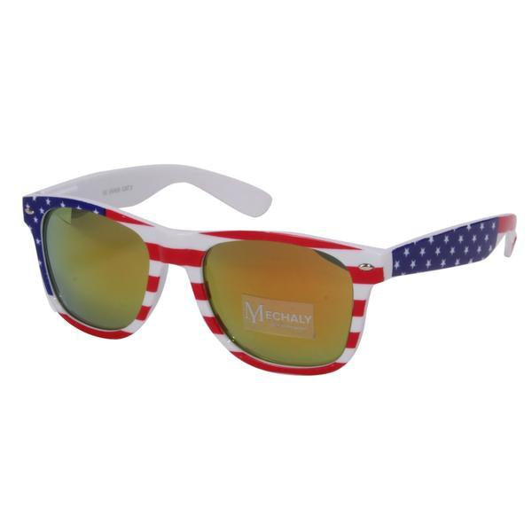Mechaly Wayfarer Style USA Flag Sunglasses in Yellow-Womens Sunglasses-Mechaly-Unicorn Goods