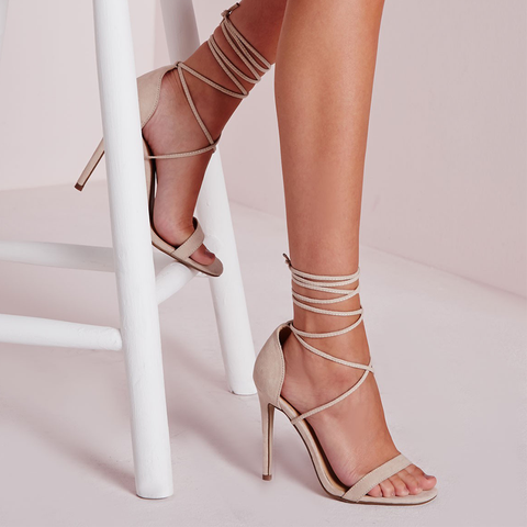 Missguided Lace Up Barely There Heeled Sandals in Nude-Womens Heels-Unicorn Goods-Unicorn Goods