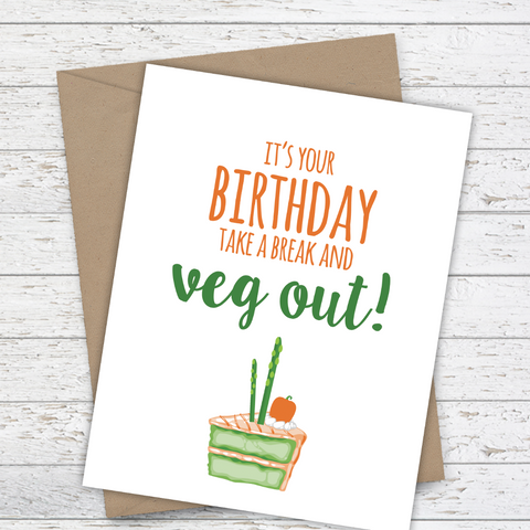 Mooi Lab It's Your Birthday! Take a Break and Veg Out! Card-Card-mooi lab-Unicorn Goods
