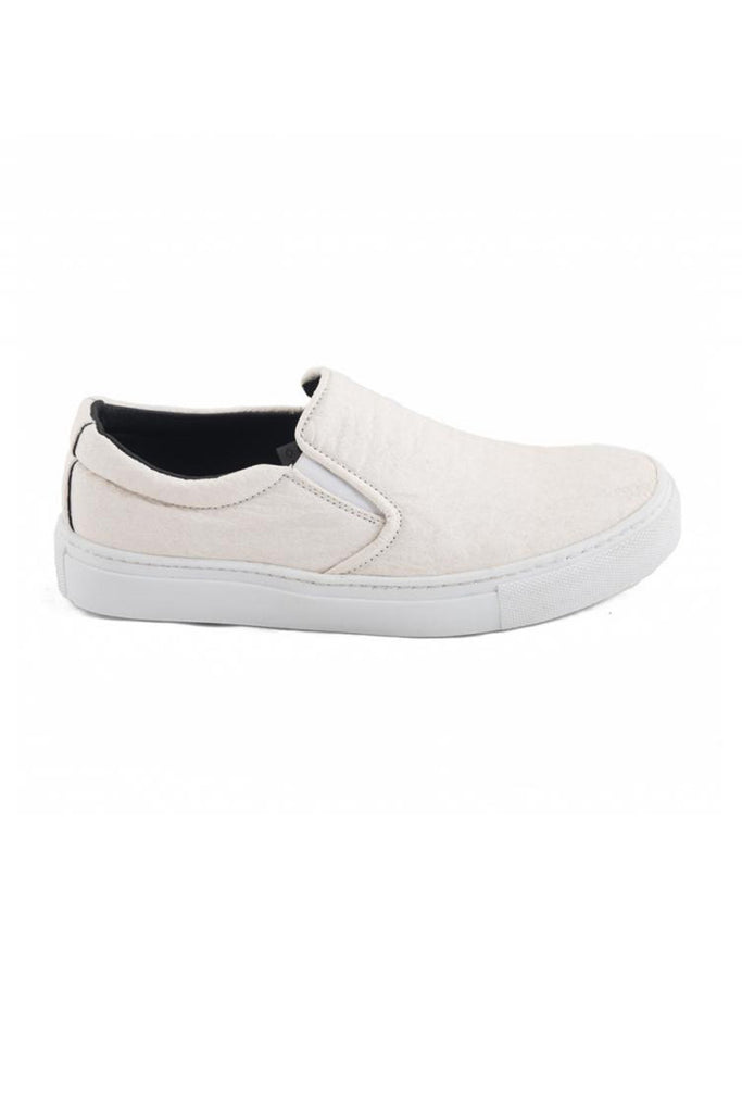 Nae Bare Piñatex Slip Ons in White-Womens Slip-Ons-Bead and Reel-Unicorn Goods