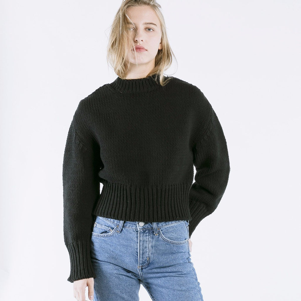 Nois Chunky Knit Sweater in Black-Womens Sweater-Nois-Unicorn Goods