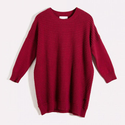 Nois Square Knit Sweater in Tibetan Red-Womens Sweater-Nois-Unicorn Goods