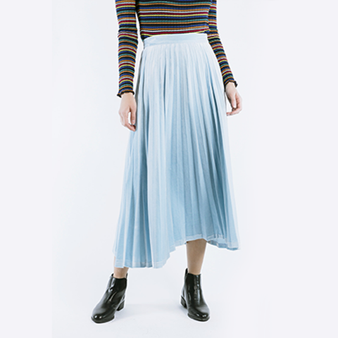 Nois Velvet Pleated Skirt in Sky Blue-Womens Skirt-Nois-Unicorn Goods