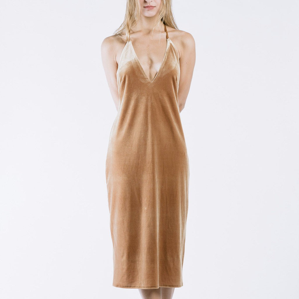 Nois Velvet Slip Dress in Camel-Womens Short Dress-Nois-Unicorn Goods