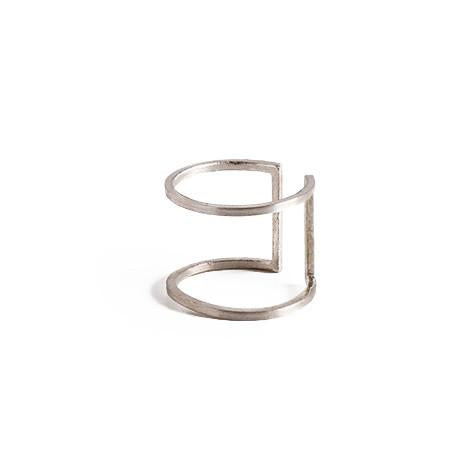 Noise Open Square Ring in Silver-Womens Ring-Nois-Unicorn Goods