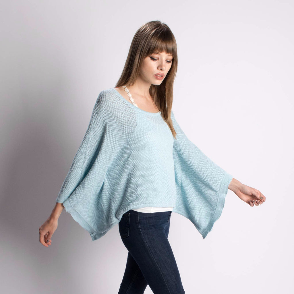 Pashen Chevron Poncho in Light Blue-Womens Sweater-Bead and Reel-Unicorn Goods