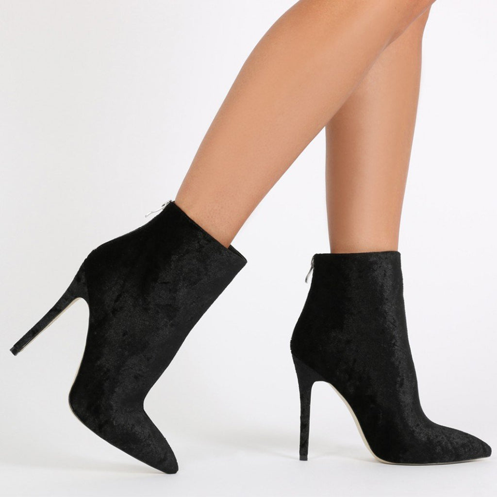 PDXHB Monaco Pointed Toe Ankle Boots in Black Crushed Velvet-Womens Booties-Public Desire-Unicorn Goods