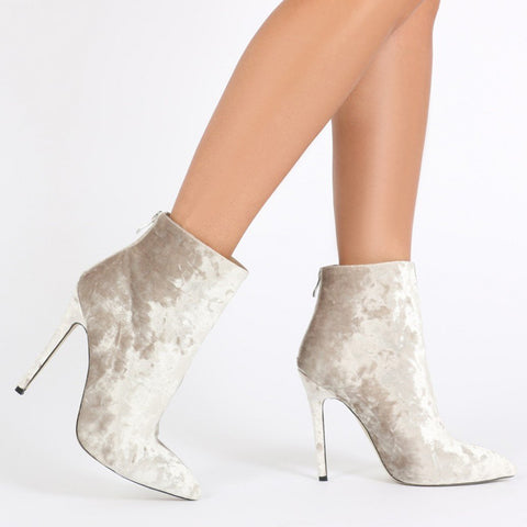 a174e9f83541 PDXHB Monaco Pointed Toe Ankle Boots in Champagne Crushed Velvet.   14.99 · PDXHB  Paris Barely There in Black Crushed Velvet-Womens Heels-Public Desire- ...