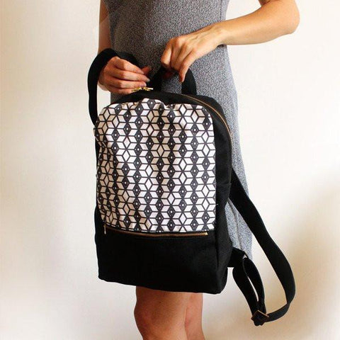 Petrushka Milan Backpack in Black/White w/ Ethnic Print-Womens Backpack-Petrushka-Unicorn Goods
