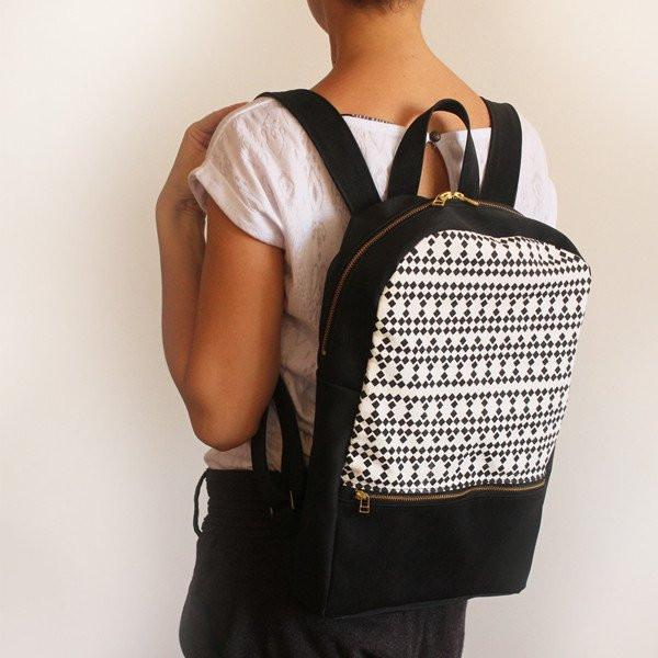 Petrushka Milan Backpack in Black/White w/ Square Print-Womens Backpack-Petrushka-Unicorn Goods