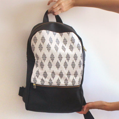 Petrushka Milan Large Backpack in Black/White w/ Ethnic Print-Womens Backpack-Petrushka-Unicorn Goods