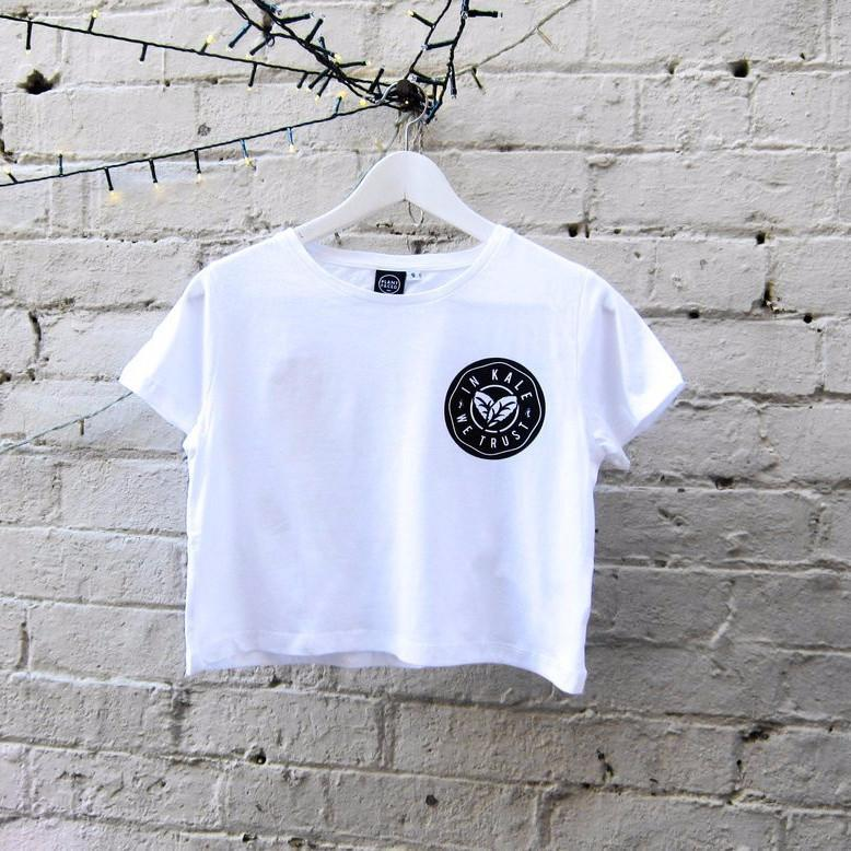 Plant Faced Clothing In Kale We Trust Crop Cop in White-Womens T-shirt-Plant Faced Clothing-Unicorn Goods