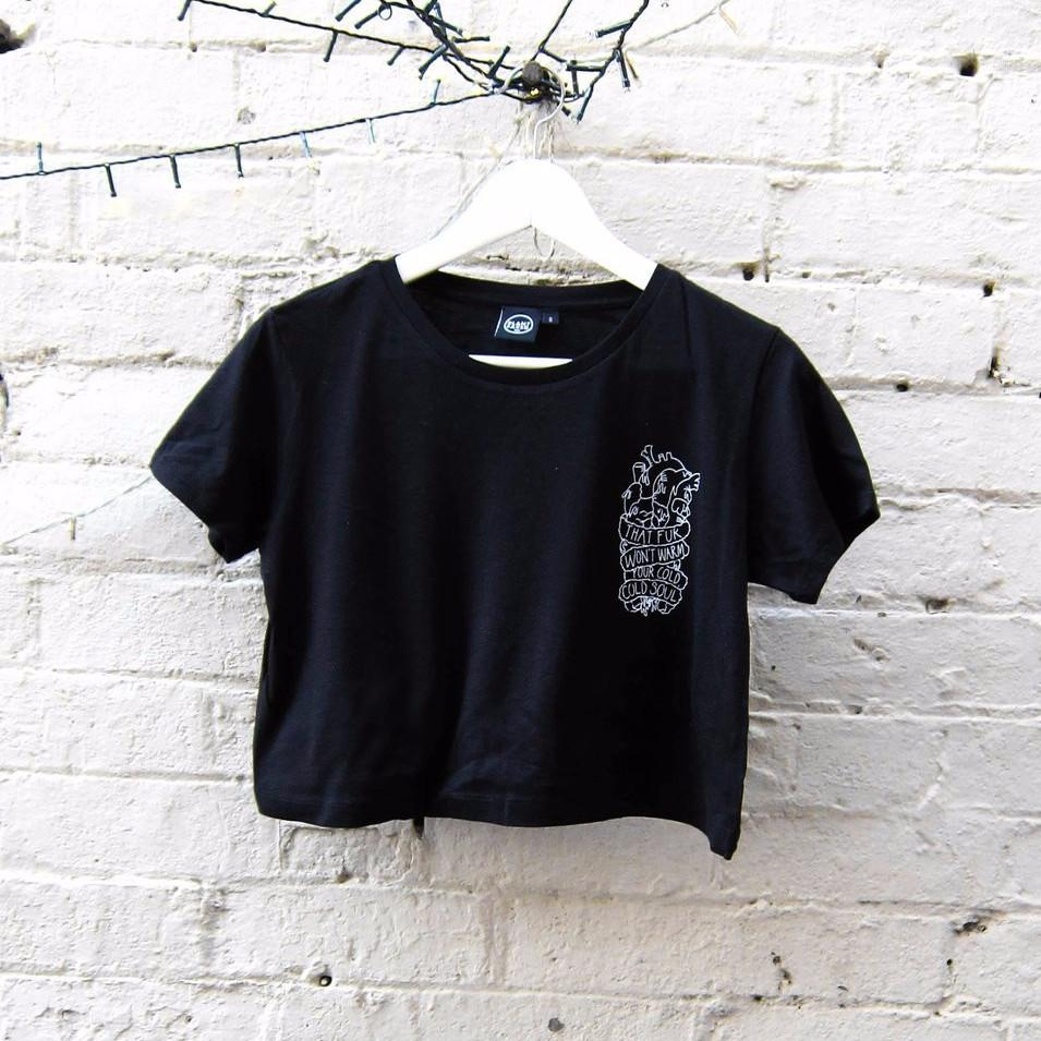 Plant Faced Clothing Soulless Crop Top in Black-Womens T-shirt-Plant Faced Clothing-Unicorn Goods