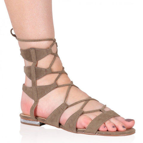 Public Desire Evie Gladiator Sandals in Taupe Faux Suede-Womens Sandals-Public Desire-Unicorn Goods
