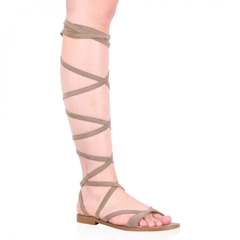 Public Desire Shana Lace Up Sandals in Taupe Faux Suede-Womens Sandals-Public Desire-Unicorn Goods