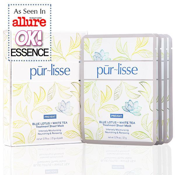 Pūrlisse Blue Lotus White Tea Treatment Sheet Mask (6 Pack)-Womens Skincare-Purlisse-Unicorn Goods