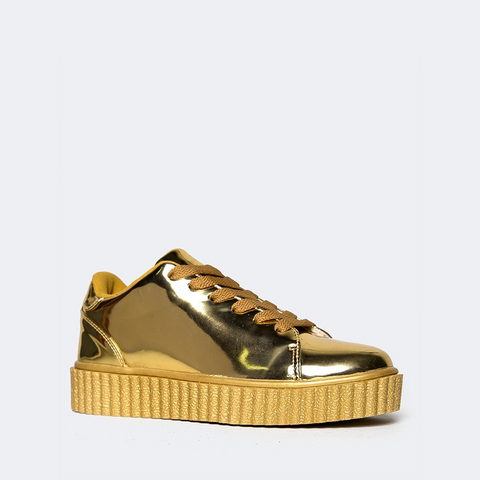 Qupid Lace Up Platform Sneakers in Gold-Womens Sneakers-Zoo Shoo-Unicorn Goods