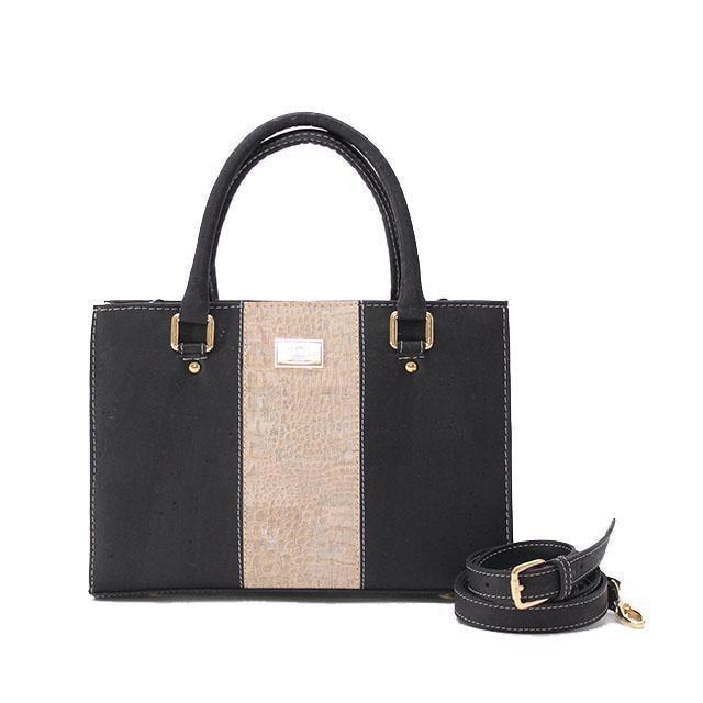 Rok Cork Carolyna Purse in Black and Croc-Womens Purse-Rok Cork-Unicorn Goods