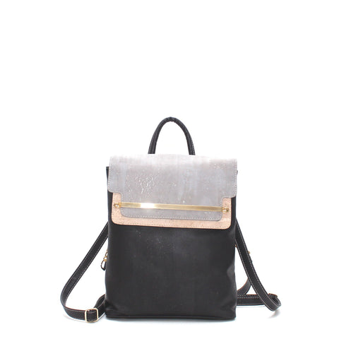 Rok Cork Jessica Luxe Backpack in Tri Colour Black and Grey-Womens Backpack-Rok Cork-Unicorn Goods