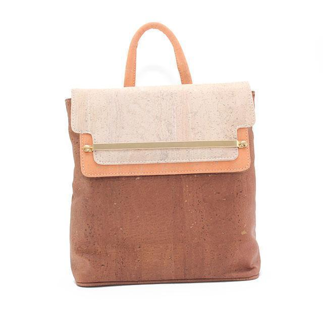 Rok Cork Jessica Luxe Backpack in Tri Colour Camel and Natural-Womens Backpack-Rok Cork-Unicorn Goods