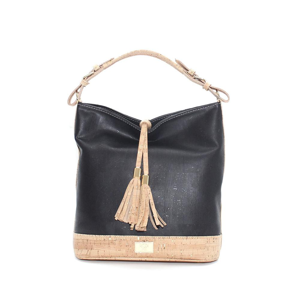 Rok Cork Julia Hobo Bag in Black, Natural and Gold-Womens Purse-Rok Cork-Unicorn Goods