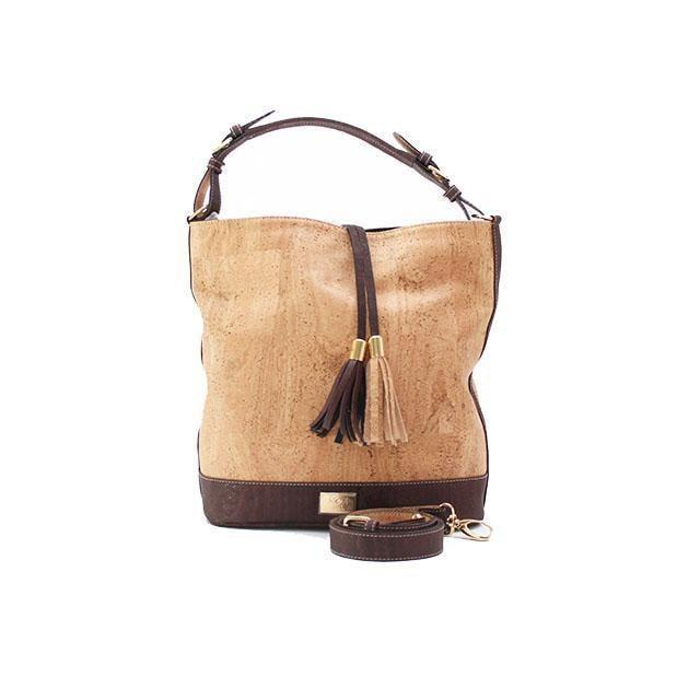 Rok Cork Julia Hobo Bag in Natural and Brown-Womens Purse-Rok Cork-Unicorn Goods