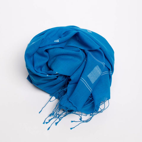 Sévya Indigo Jamdani Scarf-Womens Scarf-Bead and Reel-Unicorn Goods