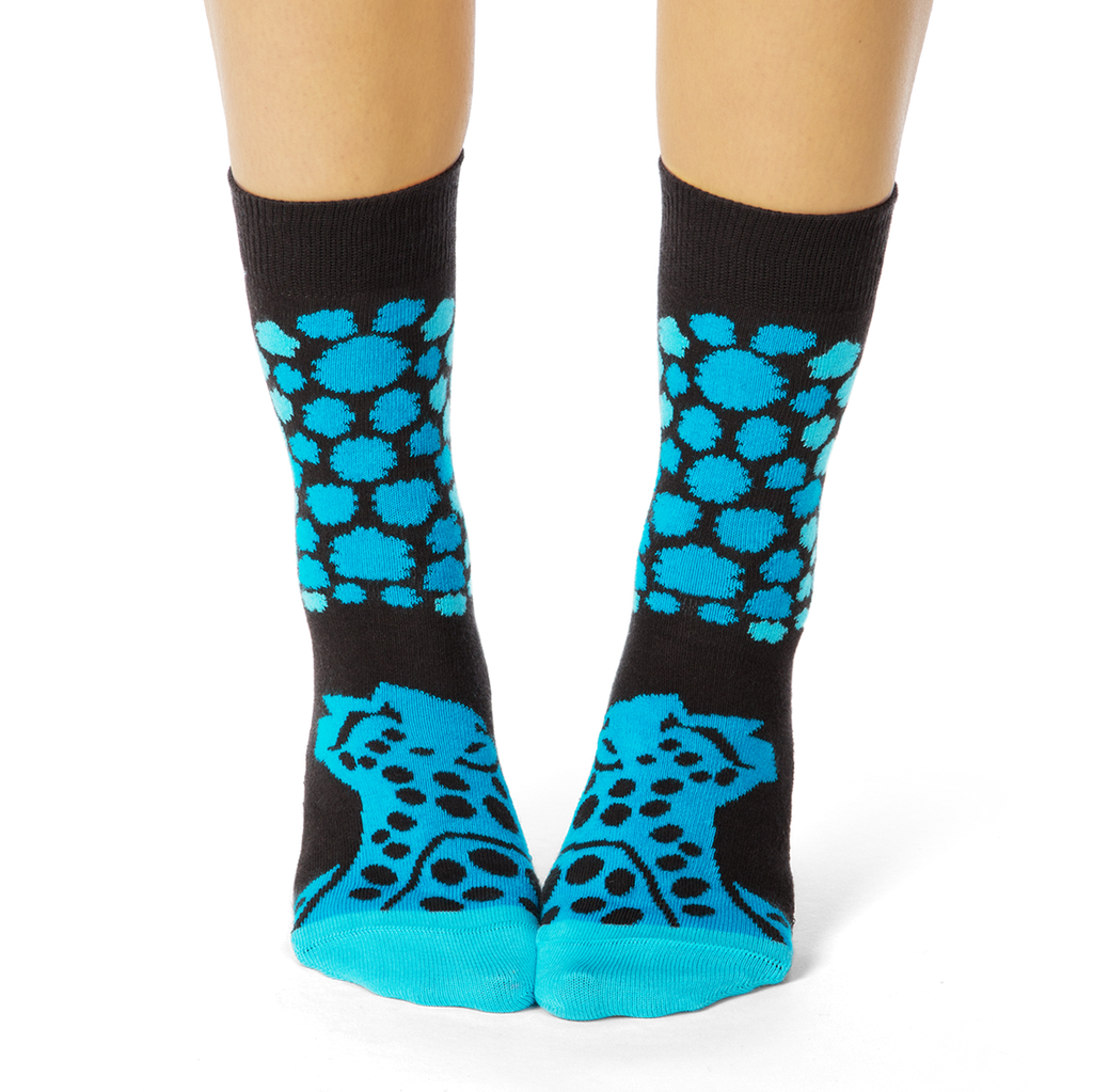 Shongolulu Cheetah Pattern Teal Socks-Womens Socks-Shongolulu-Unicorn Goods