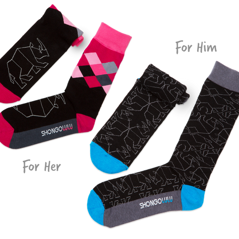 Shongolulu His & Her Sock Set in Black Rhino-Unisex Socks-Shongolulu-Unicorn Goods