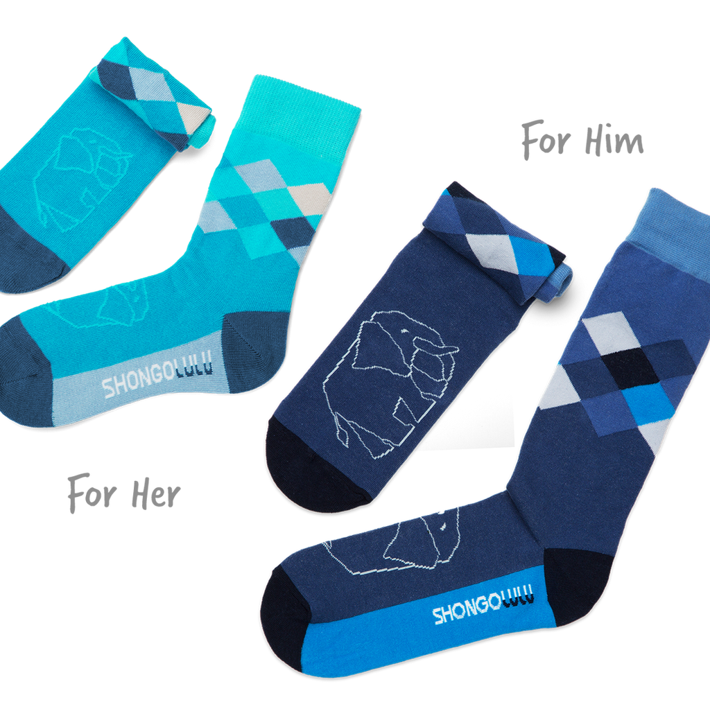 Shongolulu His & Her Sock Set in Elephant Argyle-Unisex Socks-Shongolulu-Unicorn Goods