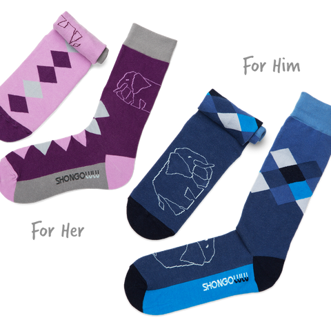 Shongolulu His & Her Sock Set in Elephant Diamonds-Unisex Socks-Shongolulu-Unicorn Goods