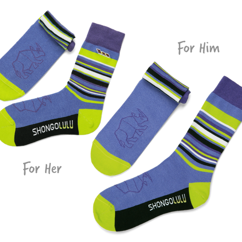 Shongolulu His & Her Sock Set in Rhino Bars-Unisex Socks-Shongolulu-Unicorn Goods